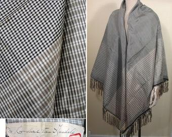 Victorian Era Large Black and White Check Silk Shawl