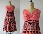 1960s vintage hawaiian dress / 60s red tiki dress / 60s geometric print dress / batik sun dress / Acapulco souvenir dress / s small