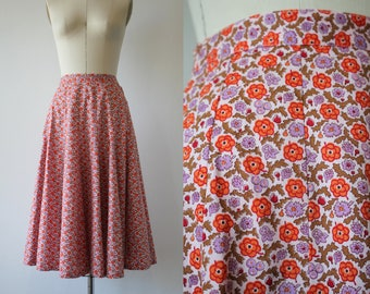 1950s vintage skirt / 50s circle skirt / 50s pink floral skirt / 50s cotton skirt / 50s full skirt / 50s gored skirt / 25 inch waist small