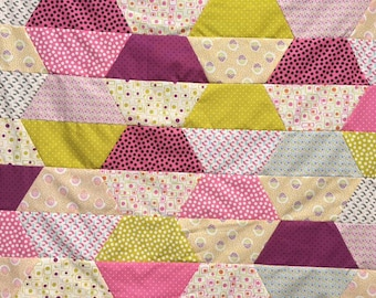 Quilt Top Bright colors pink green purple  Ready to Quilt DIY Nursery Gift Baby Shower  Moda fabrics Tumbler