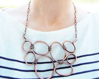Copper Bib Necklace, Bubbles, Statement, Oxidized Copper, Wire Jewelry