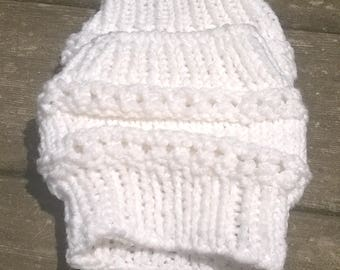 Knit Boot Cuff, Rasta Boot Cuff, Ankle Warmer, Leg Warmer, White Boot Cuff, Womens Boot Cuff, Boot Topper, Dancers Ankle Warmer