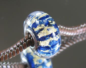 """ALEXANDRA RESERVED for ALEXANDRA Tangled Sky Glass """"Gilded"""" #1 Fully Sterling Silver Lined Lampwork Charm Bead BhB"""