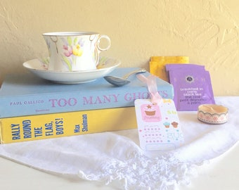 Tea Lover Book Lover Gift Box Matching Tea Cup and Saucer 2 Vintage Books Tea Bags Candle Bookmark Pretty Spoon Vintage Cloth Napkin