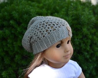 Doll Clothes - Boy or Girl Doll - Doll Beanie for 18 inch - Crocheted Slouch Beanie - Ash Grey Gray - MADE TO ORDER - fits American Girl