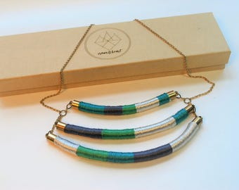 Coil necklace, wrapped coil necklace, colorful necklace, statement necklace, unique necklace, multi strand necklace, layered necklace