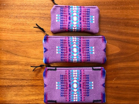 Gift Set of 3 XL / Organizer Set / Travel Set Wool Purple Mini Chief Joseph