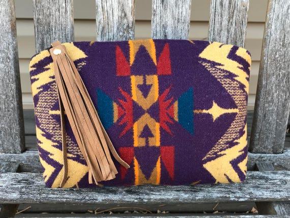 Wool Unlined Clutch / Cosmetic Bag / Makeup Bag / Travel Bag XXL Purple Echo Peaks