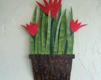Metal Wall Art Flower Sculpture Decor Tropical Flower Wall Hanging Red orange Kitchen Wall Recycled Metal Flower Wall Sculpture Patio Art