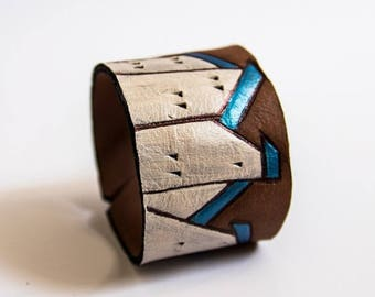 50% OFF SALE Leather houses wide black cuff bracelet Jewelry Wristband Casual Colorful houses