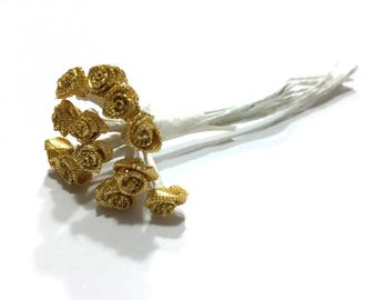 Vintage Gold Flower Pick, Flower Millinary, Metalic Gold, 12 Wire Rose Stems, Floral Arrangement, Floral Supplies