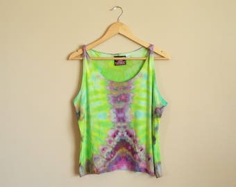 XL WOMEN'S Ice Dye Tie Dye Tank Top. Lime Green and Purple on a bamboo jersey tank. Extra Large