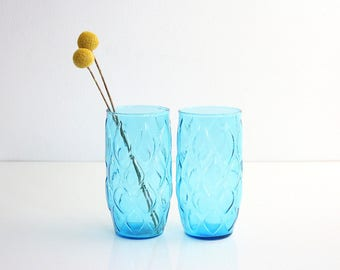 Mid Century Modern Turquoise Blue Madrid Glasses by Anchor Hocking / Vintage Turquoise Glassware / Mid Century Anchor Hocking Tumblers