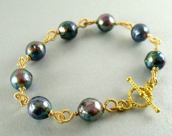 25 OFF Grey Pearl and Gold Filled Wire Wrapped Bracelet