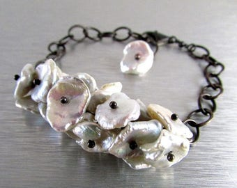 25 OFF Pearls and Oxidized Sterling Sliver Bracelet