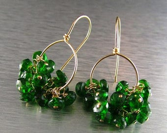 25 OFF Chrome Diopside and Gold Filled Cluster Earrings