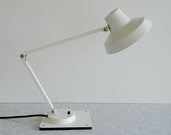 adjustable desk lamp, pixar lamp, gooseneck hobby lamp, white metal, by tensor, midcentury electrical work lamp, small, industrial utility