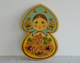 matryoshka wood hook, russian nesting doll girl hook, small wood hood, pastel matpewka rack, jewelry robe bedroom, child kid nursery decor