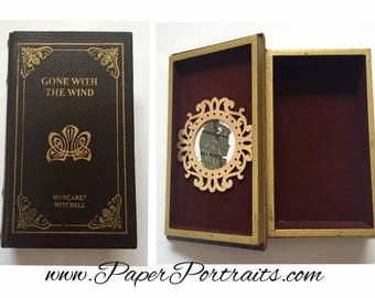 Gone With the Wind by Margaret Mitchell, OOAK Vintage Book Box with Real Hand Cut Silhouette of Scarlett O'Hara
