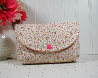 Snap Pouch, Large Snap Pouch, Cosmetic Pouch, Accessory Pouch, Travel Pouch ...Wildflowers in Pink, Romantic Memories