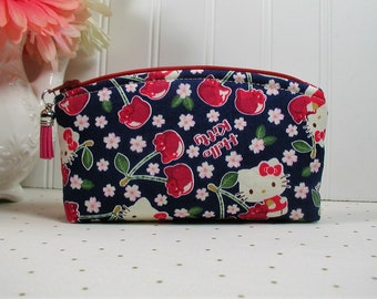 Hello Kitty Cherry Land Pouch/ Hello Kitty with Cherries Pouch/ Hello Kitty Zippered Pouch/ Curved Top Pouch/ Accessory Pouch
