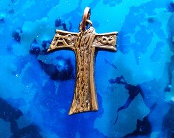 TAU Francis Cross Pendant  Tau charm  Tau cross necklaces Stream of life    Tau Cross solid Bronze metal Jewelery cross
