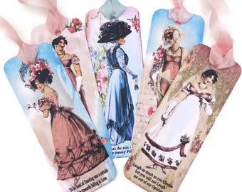 Bookmark- Jane Austen-Vintage Retro Paper Bookmark,Victorian Ladies Bookmark,Book Lover, Emma Quotes,Tea Party Favor,Victorian Era,Australia
