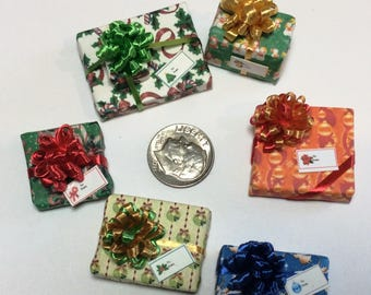 Six Assorted Miniature Christmas Packages set #201