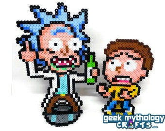 Rick and Morty - Perler Bead Sprite Pixel Art Figure Stand or Lanyard Necklace