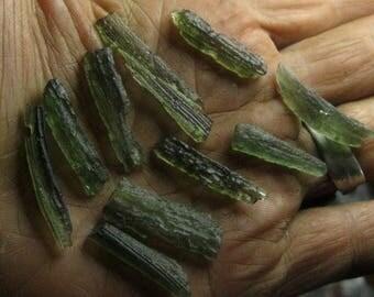 Moldavite genuine from Czechoslovakia - choose 1 - gemmy wire wrap green stone impact meteorite natural long thin piece coyoterainbow KK7a-J