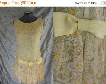 ON SALE 60s Dress //  Vintage 1960's Pae Yellow Lace Dress with Drop Waist Faux Flapper Style Size M  metal zipper