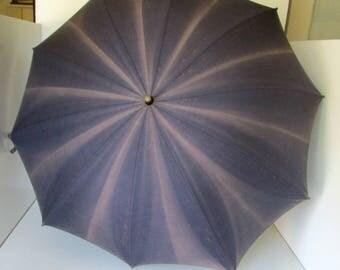 Vintage Umbrella Parasol Wood Handle Dark Blue Umbrella Cotton Sun Parasol Sun shade