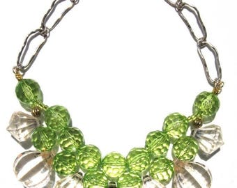 CLEARANCE Fun Green clear acrylic handmade statement necklace