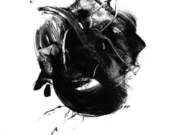 Black and white abstract art, A2 giclee print