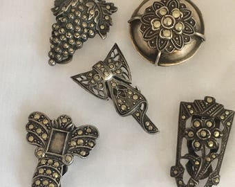 Lot of 5 Vintage Sterling Marcasite Dress/Hair Clips