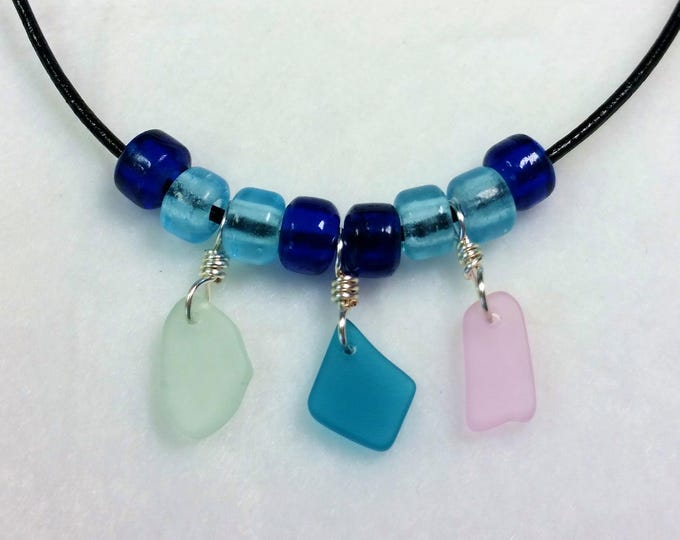 Sweet Beach Glass Trio on Leather, Adjustable Necklace
