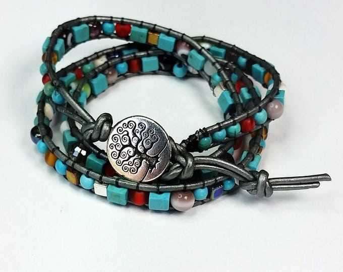 Triple Wrap Turquoise and Rainbow Bracelet on Silvery Leather