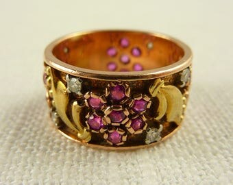 WW) Antique 14K Gold Ruby and Diamond Band with Rose and Yellow Gold Size 6.5