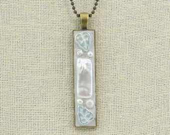 White Czech Glass and Freshwater Pearl Antique Brass Long Rectangular Pendant Necklace