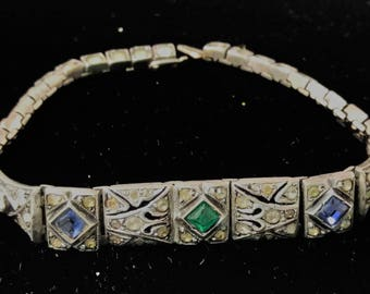 Vintage Sterling Link Bracelet Pierced with Stones with Clasp Station Bar #B593