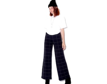 omg cutest 90s KNIT BELLBOTTOMS / grid plaid soft knit pants knit trousers sweater pants bell bottoms flared flares modern minimalist looks