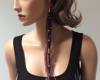 Feather BOHO uni-earring.Handmade Zoë Battles Designs. One of a kind