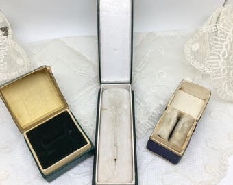 Vintage ring boxes Brooch/pin box c1920s Art Deco English vintage jewel boxes Lot of 3 jewellery display Antique jewelry storage