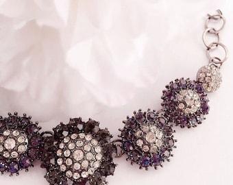 SALE 20% Off Rhinestone Bib Necklace - Flower - Party Jewelry - Sparkling - NOEL