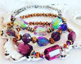 Purple Bracelet - Beaded Bracelet Set - Individual Bracelets - Stretch Bracelet - PARIS Purple