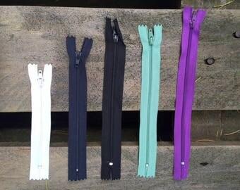 10 purple 20 cm zips