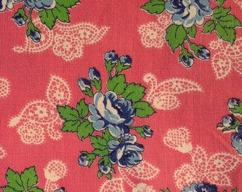 1950s Floral Cotton Fabric Blue Floral Pink Cotton Fabric 3 plus yards lot 36 inch width