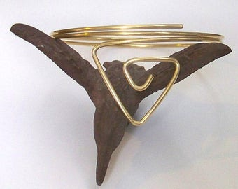 "SALE - Triangle Armlet - 10"" Armband - Upper Arm Jewelry - Upper Arm Cuff - Gold Upper Arm Bracelet - 50% Goes to Breast Cancer Survivor"