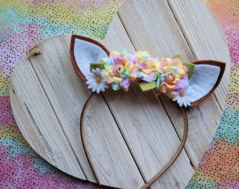 Fawn Ear Headband with Flowers | Photo prop, costume, birthday, accessories