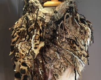 Handknit Shag Poncho with Cowl neck and riveted clasp, Cheetah print, Knit Fringed Poncho, tan black poncho, bohemian, eclectic fashion